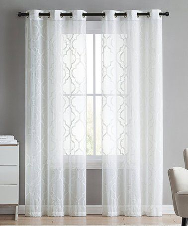 Loving This White Semisheer Embroidered Sharon Curtain Panel Set
