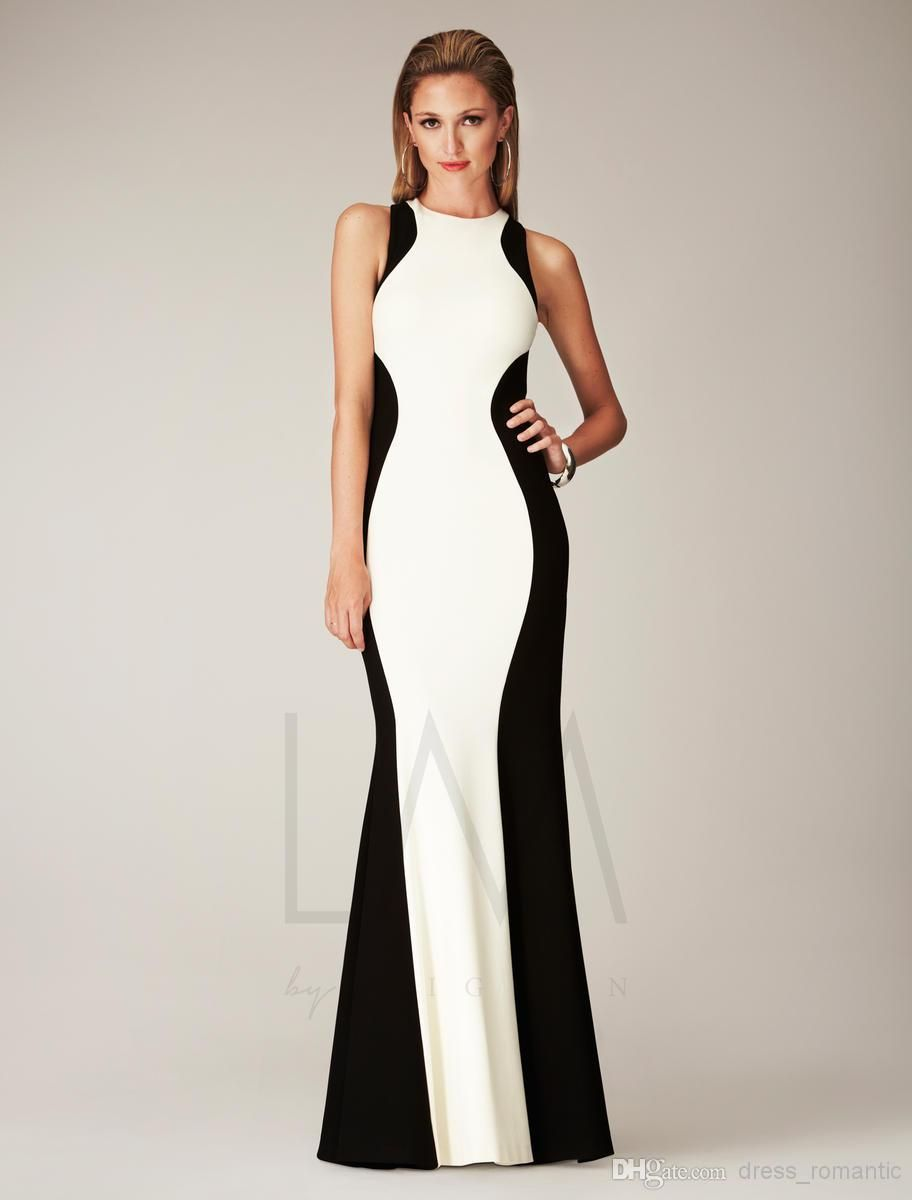 Black and White Formal Dresses : High Neck Sheath Black And White ...