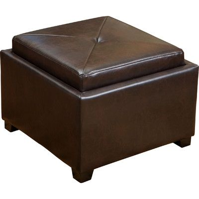 Home Loft Concepts Drexel Leather Tray Top Storage Ottoman Upholstery: Brown