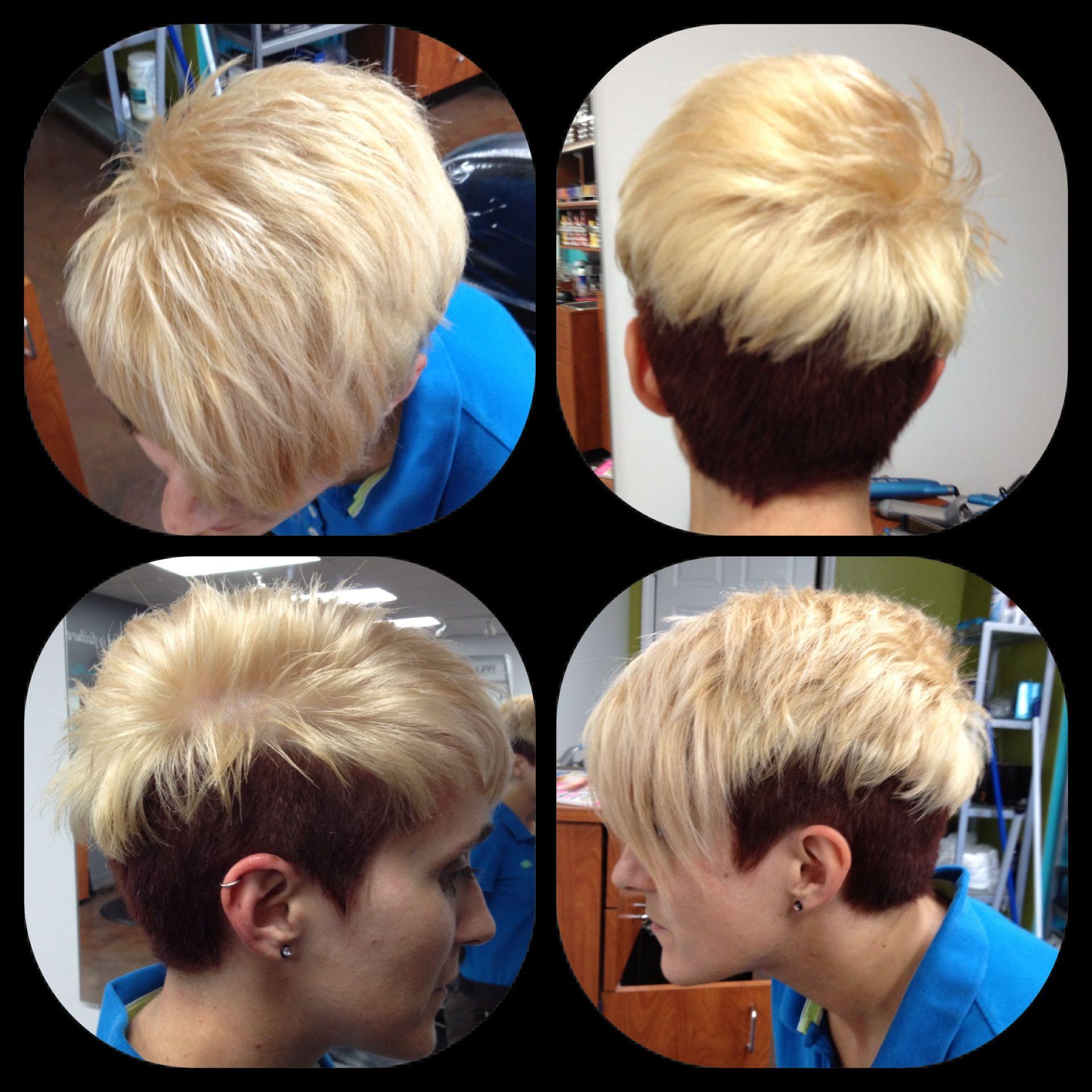 Edgy choppy razor cut blonde hairplatinum hair dark red hair