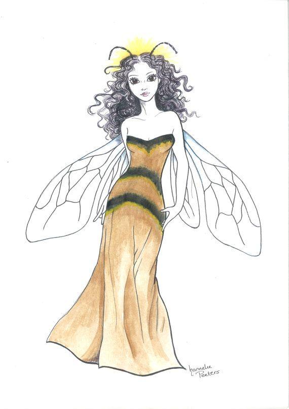 Queen Bee Fee. Fantasy Kunst Drucken Poster. Romantische Aquarell Märchen Abbildung Fae Pixie Goth Nimph Flügel woodland