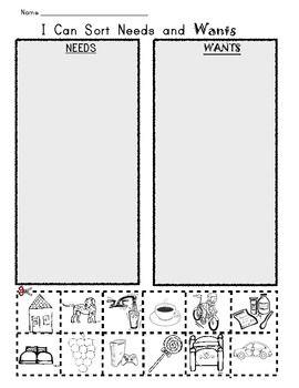 i can sort needs and wants picture worksheet pinterest worksheets social studies and. Black Bedroom Furniture Sets. Home Design Ideas
