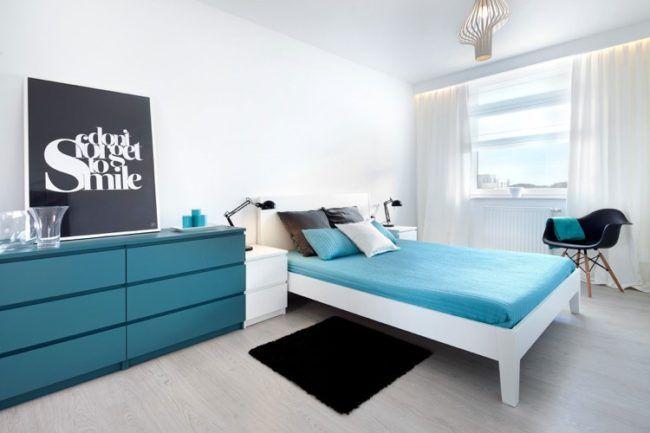 Schlafzimmer Weiss Türkis Modern Indirektes Licht Fensterrollos Weisse