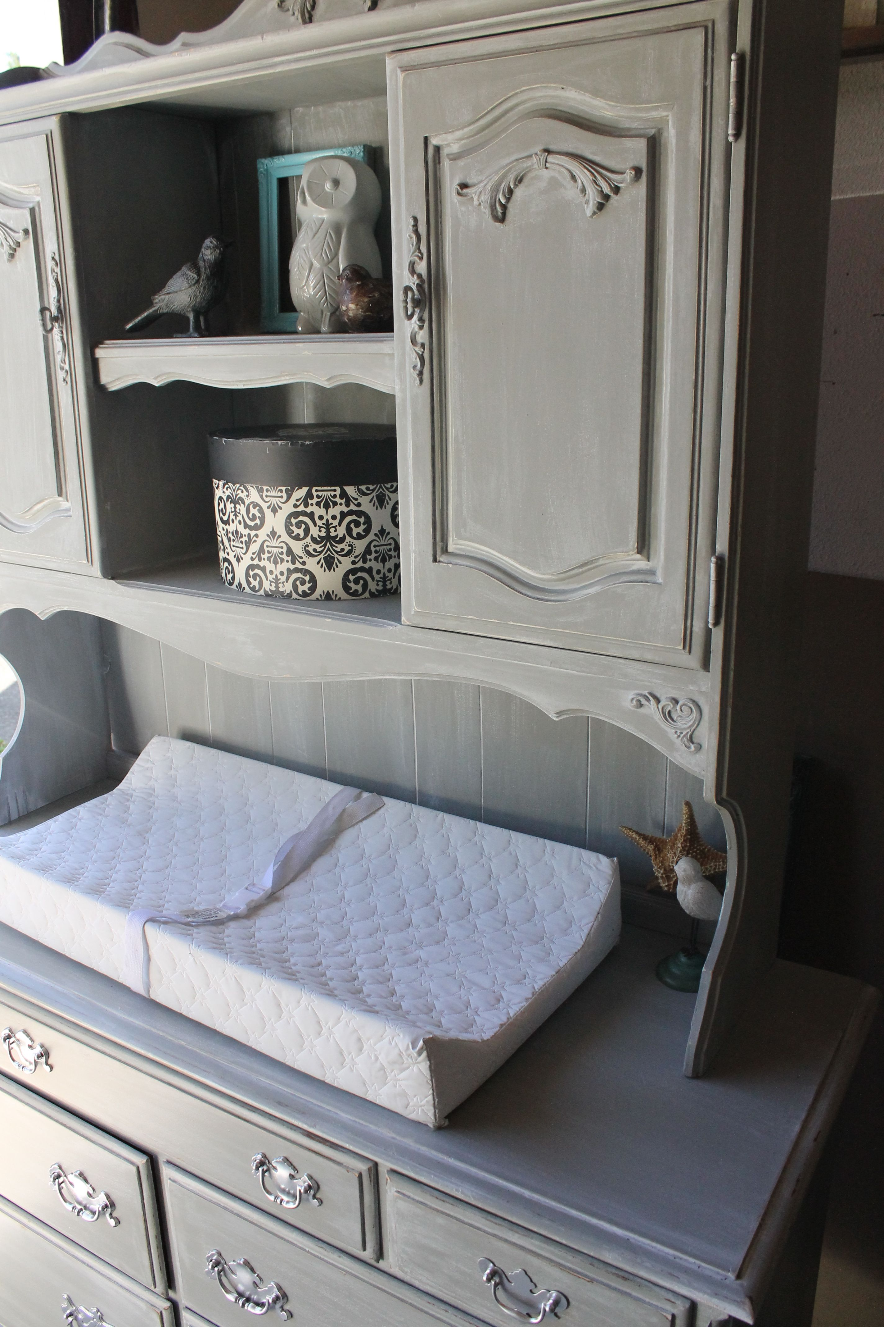 Vintage Ethan Allen Dresser Repurposed Into Weathered Gray Distressed Baby Changing  Table With Hutch
