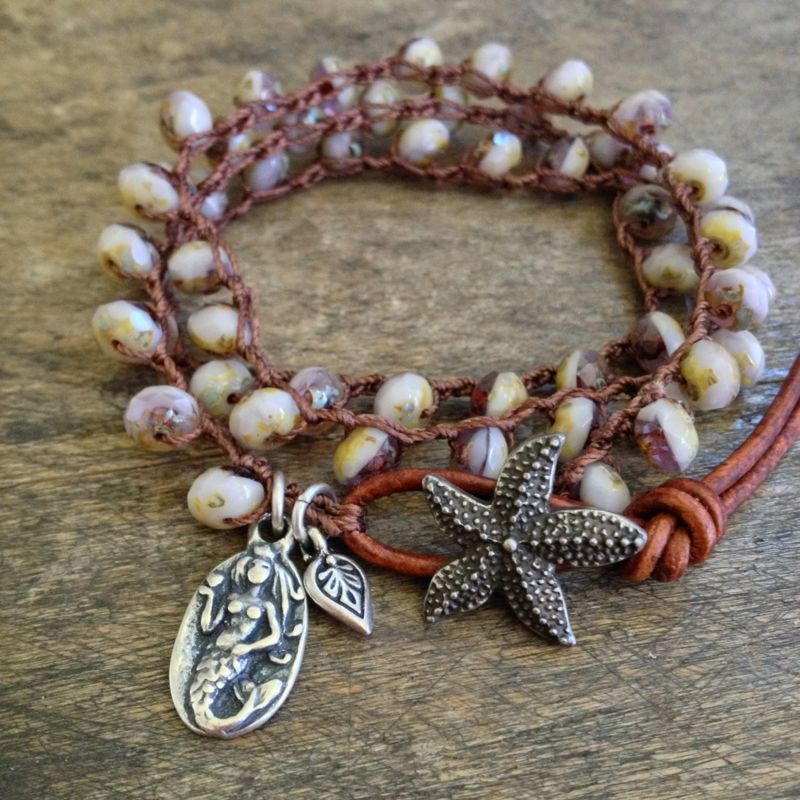 Starfish & Mermaid Knotted Crochet Leather by TwoSilverSisters, $42.00