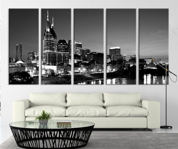 Nashville Wall Art nashville city skyline art canvas print, tennessee downtown