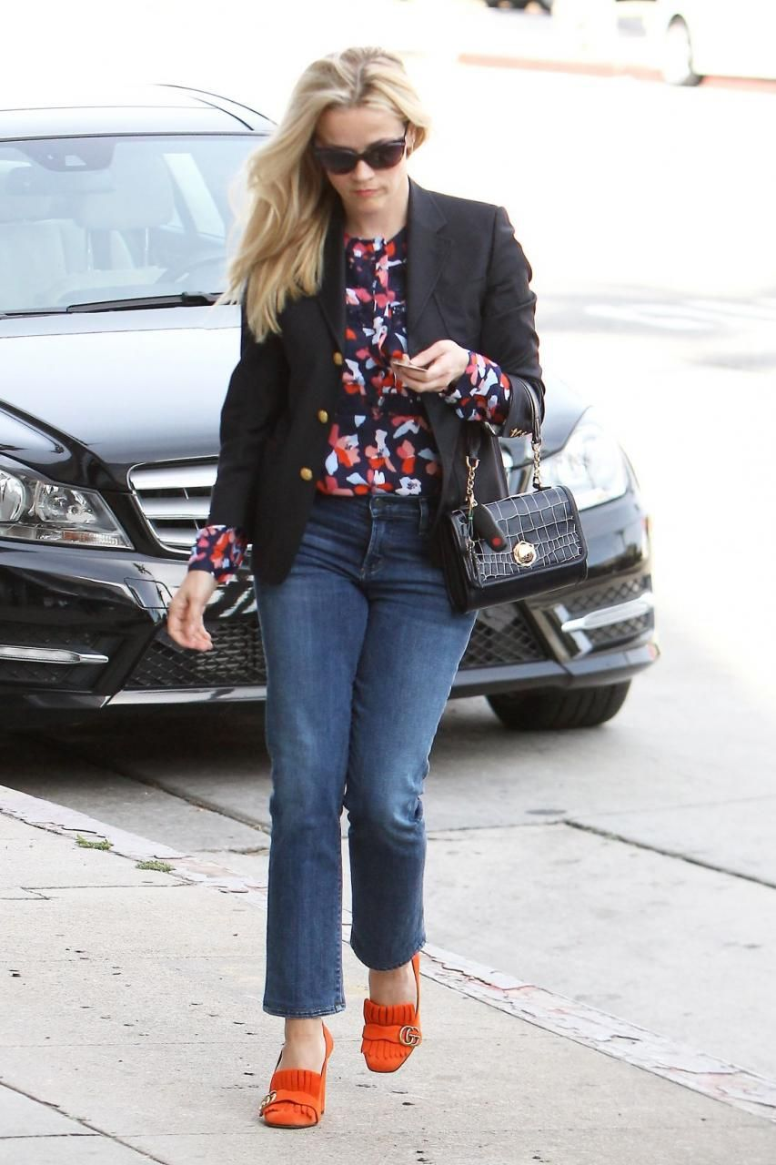 dd1c4349d9d Reese Witherspoon wearing Gucci Marmont Fringe Suede 105mm Loafer