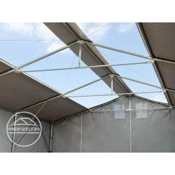 Photo of 8×12 m tent hall – 3.6 m side height with zipper gate and skylights, Pvc 550 g / m² gray   With