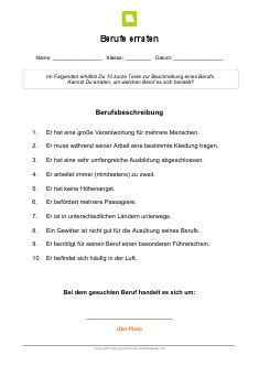 Arbeitsblatt: Berufe erraten: Pilot | kostenlose Arbeitsblätter ...