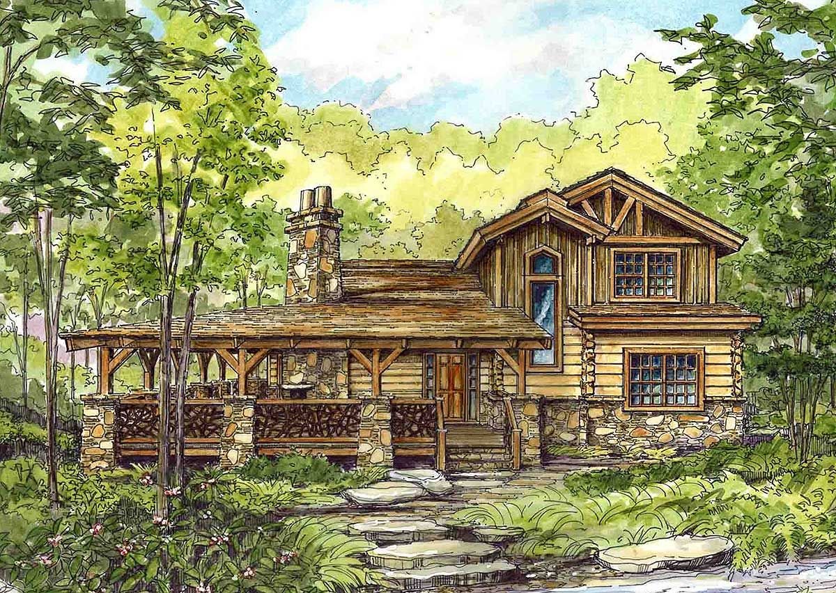 Plan 13318ww huge wrap around porch mountain vacations for House plans with loft and wrap around porch