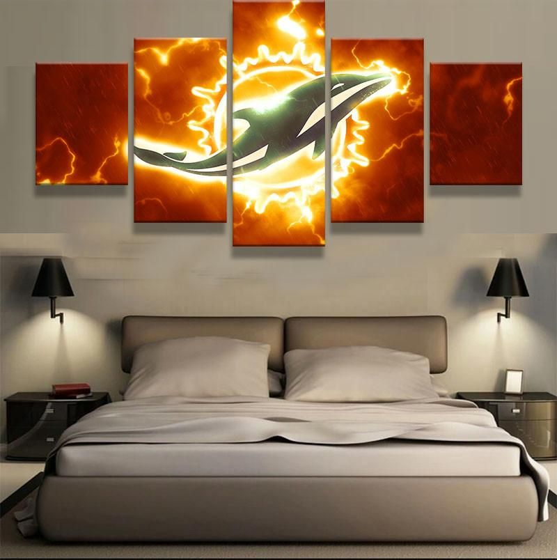 5 Panel Miami Dolphins Sports Team Logo Modern Home Wall