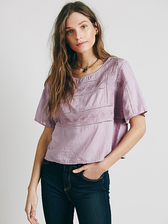 Free People Short Sleeve Cutwork Structured Tee at Free People Clothing Boutique