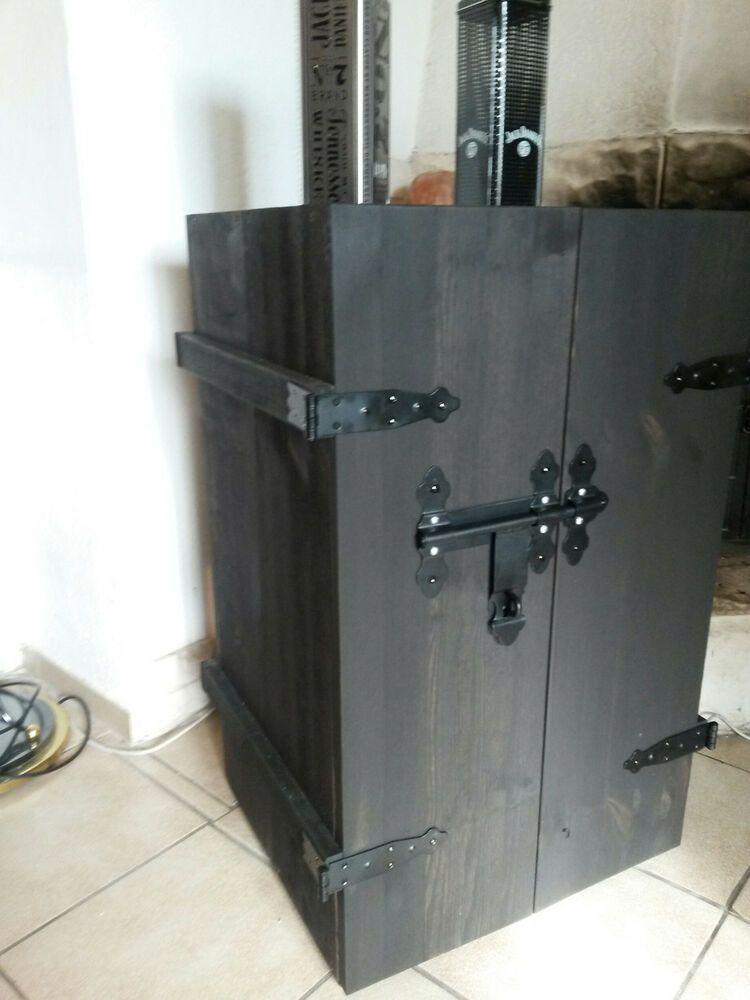 Neu Hausbar Rustikal Shabbychic In Der Farbe Shabbyschwarz Holzkiste Holztruhe Holztruhe Hausbar Barschrank