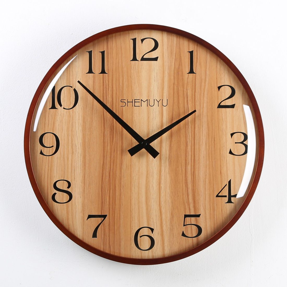 12 Inches Wall Clock Wood Retro Digital Type European Mute Wall Clock Retro Autumn Scenery Clocks Home Decor 2018 Retro Wall Clock Wood Wall Clock Wall Clock
