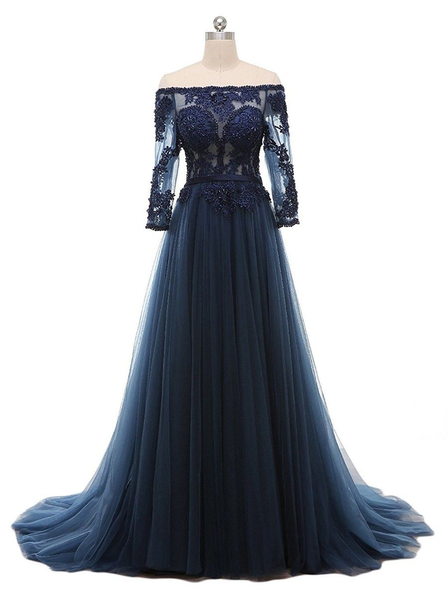 Elegant aline prom dresses navy blue prom dresses applique prom