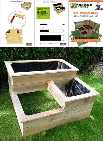Carr de potager 3 niveaux de 1m20 par 1m20 jardin jardini res carr es carr potager for Fabriquer un carre potager