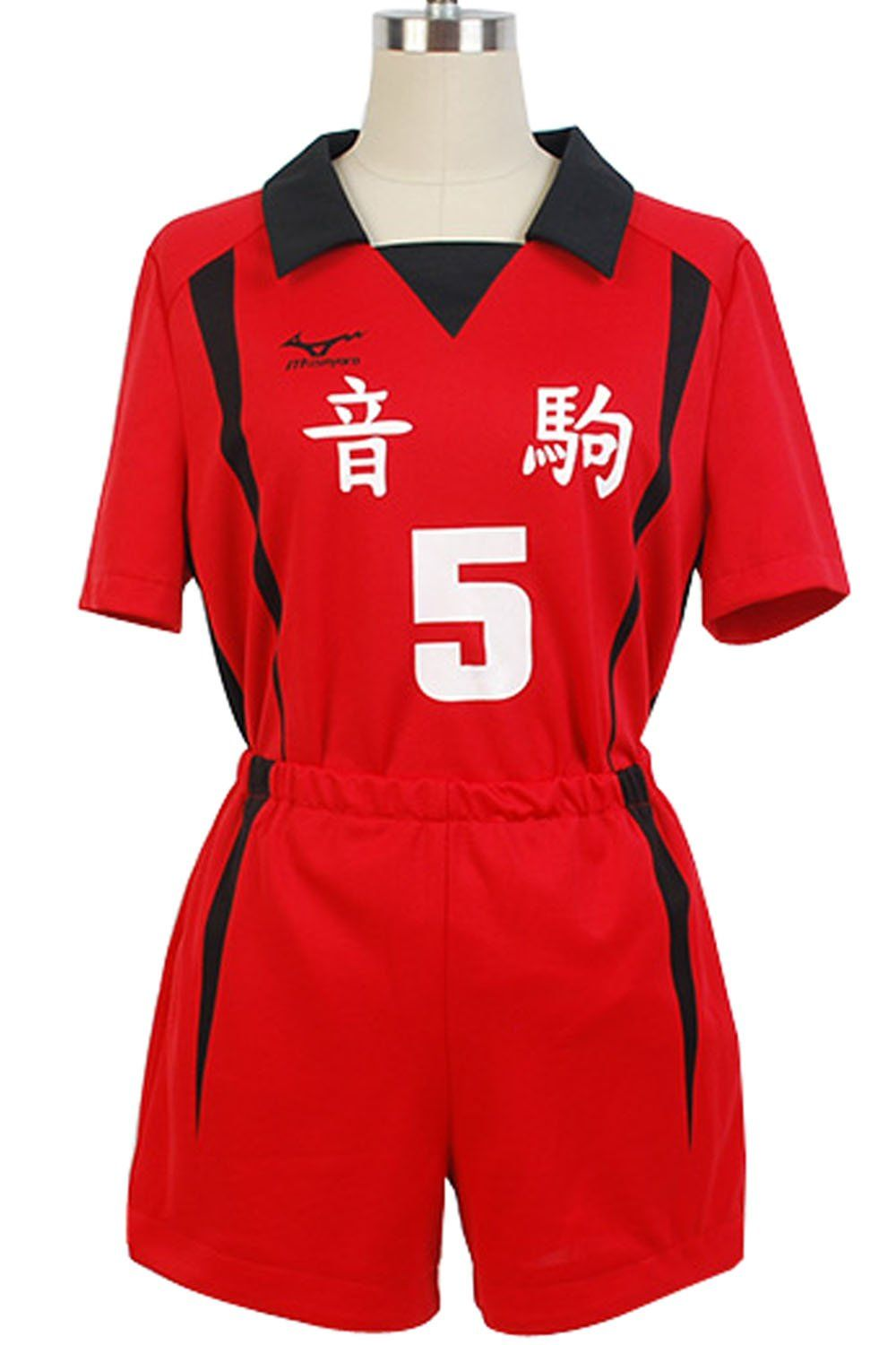 Goodcosplay Haikyuu Nekoma Uniform Kenma Kozume Volleyball Jersey 5 Cosplay Costume A Red And Black Outfits High School Football Shirts Mens Shorts Outfits