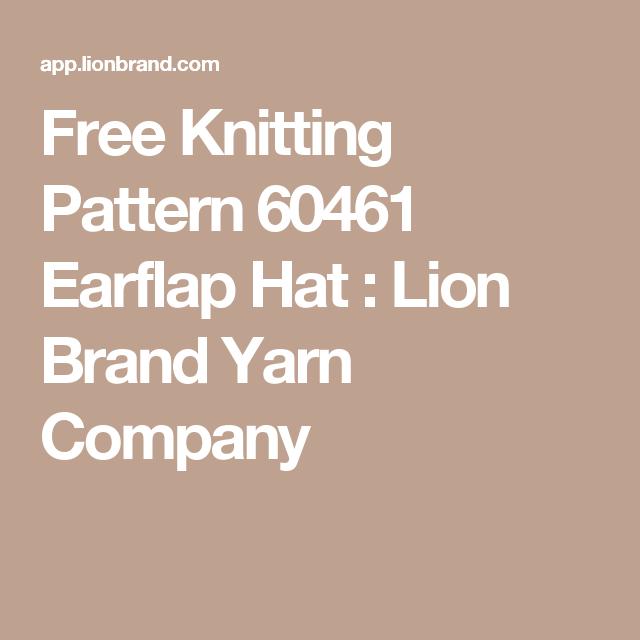 Free Knitting Pattern 60461 Earflap Hat : Lion Brand Yarn Company