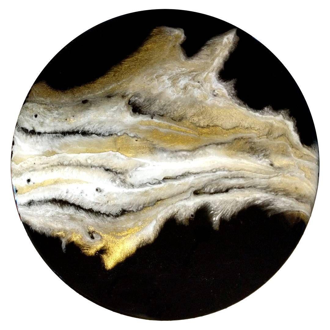 Resin art black white and gold