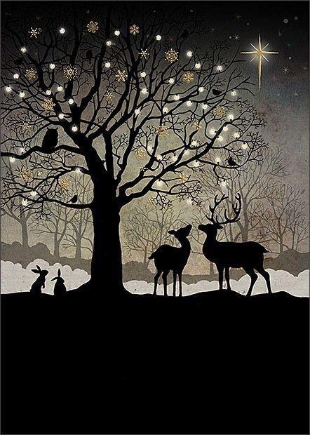 Beautiful Artist Christmas Card-Winter Bench-SINGLE CARD-Bug Art