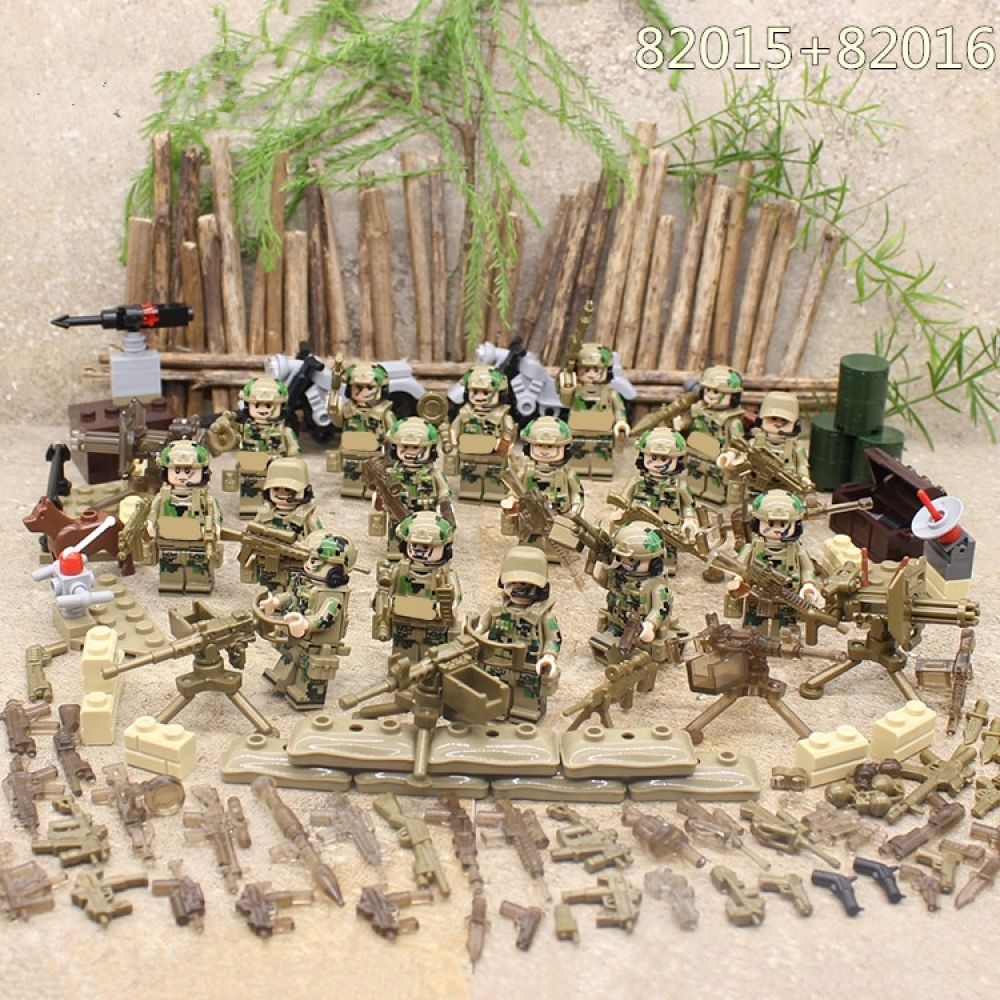 WW2 Military USA Army Landing Boat Soldiers Building Blocks Toy Figures Kids Toy