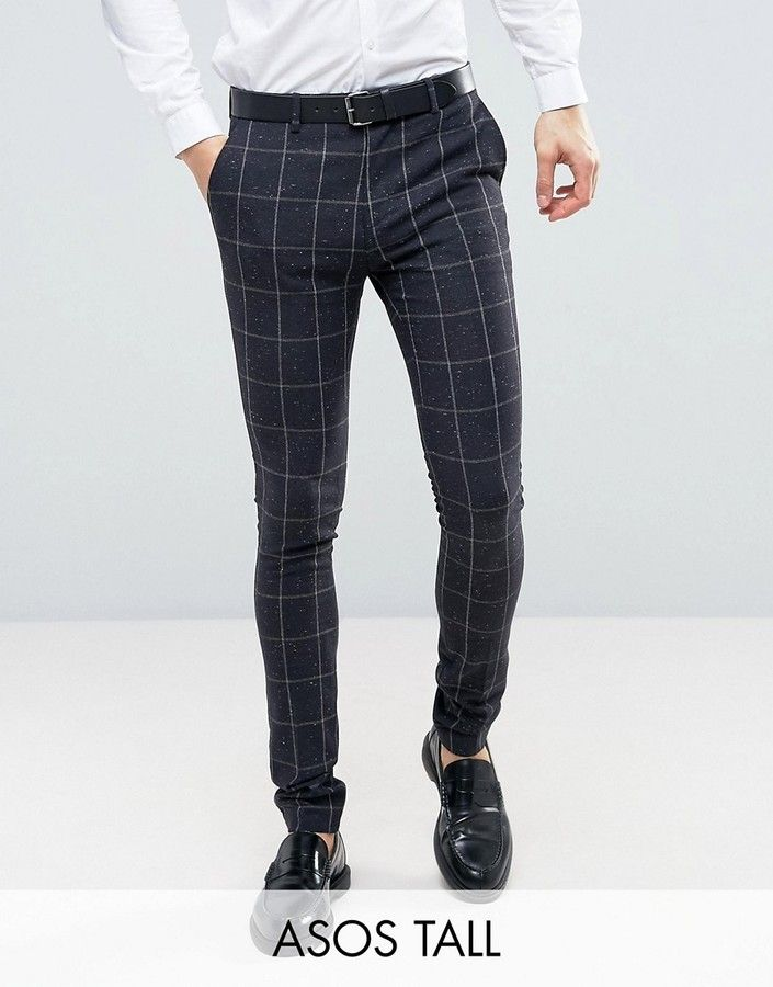 ASOS TALL Super Skinny Suit Pants in Navy Check With Nep