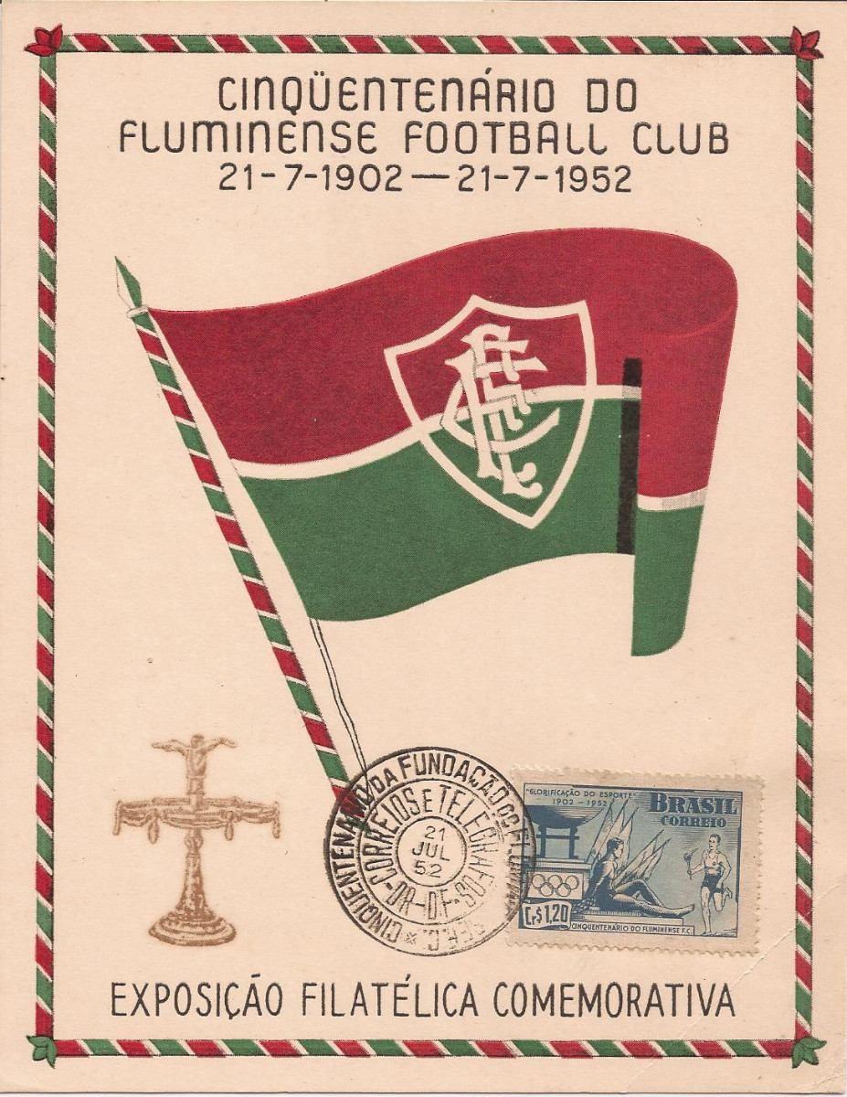 54196a11ff Fluminense 50 Anos-folhinha Com Selo E Cbc-1952 - R  38