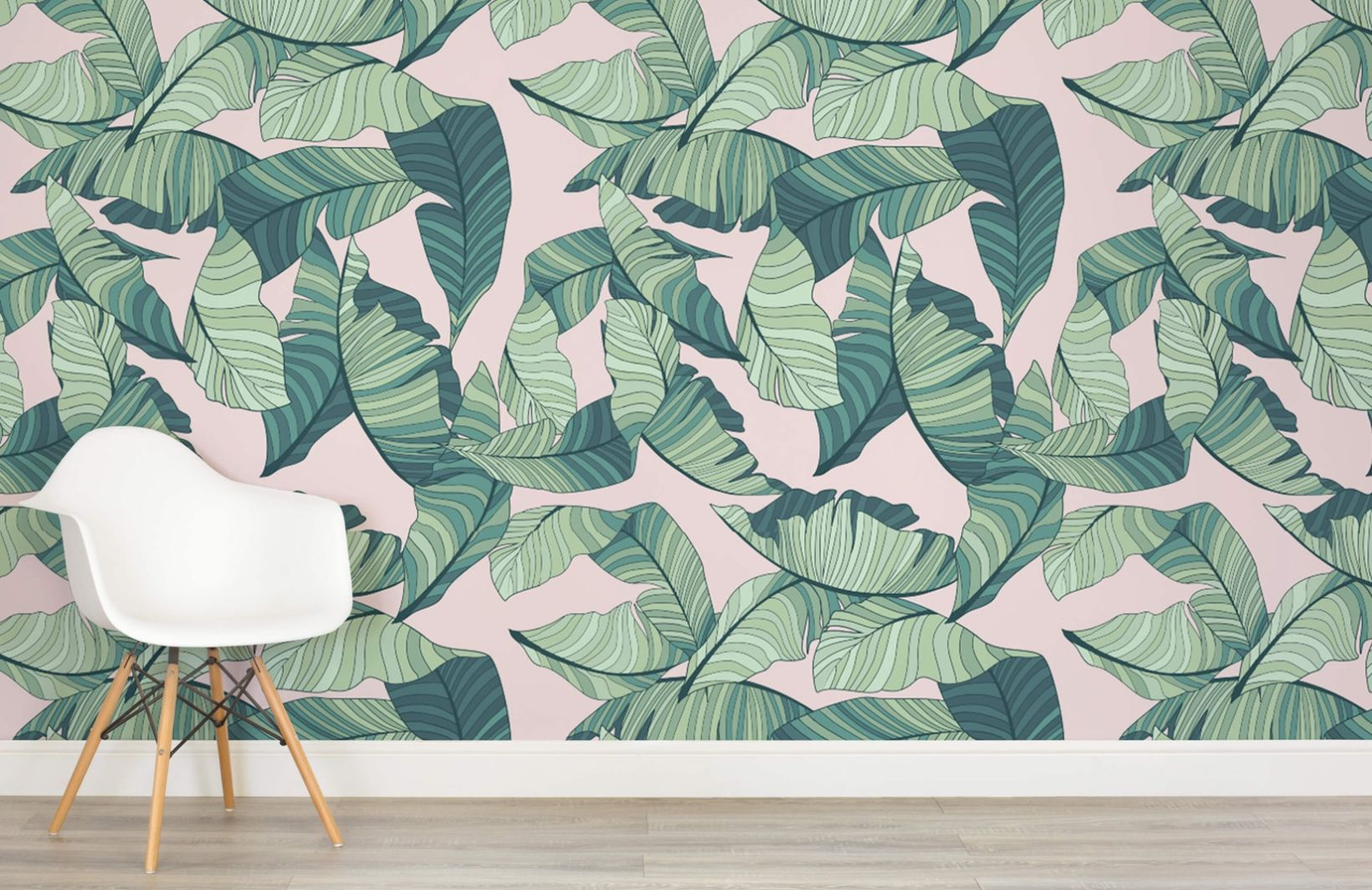Pink and Green Tropical Leaf Wallpaper Palm leaf