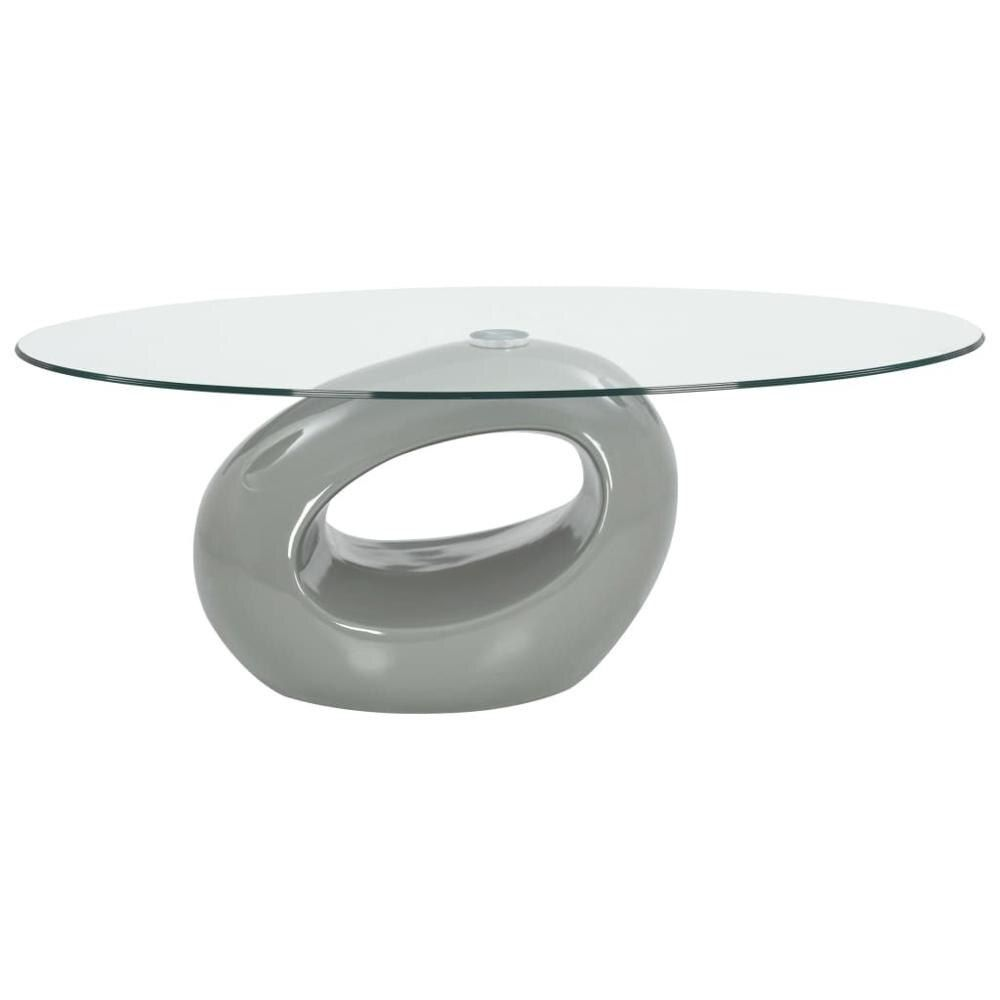 Usa Warehouse Coffee Table With Oval Glass Top High Gloss Gray Modern Coffee Tables Coffee Table Living Room Table [ 1000 x 1000 Pixel ]