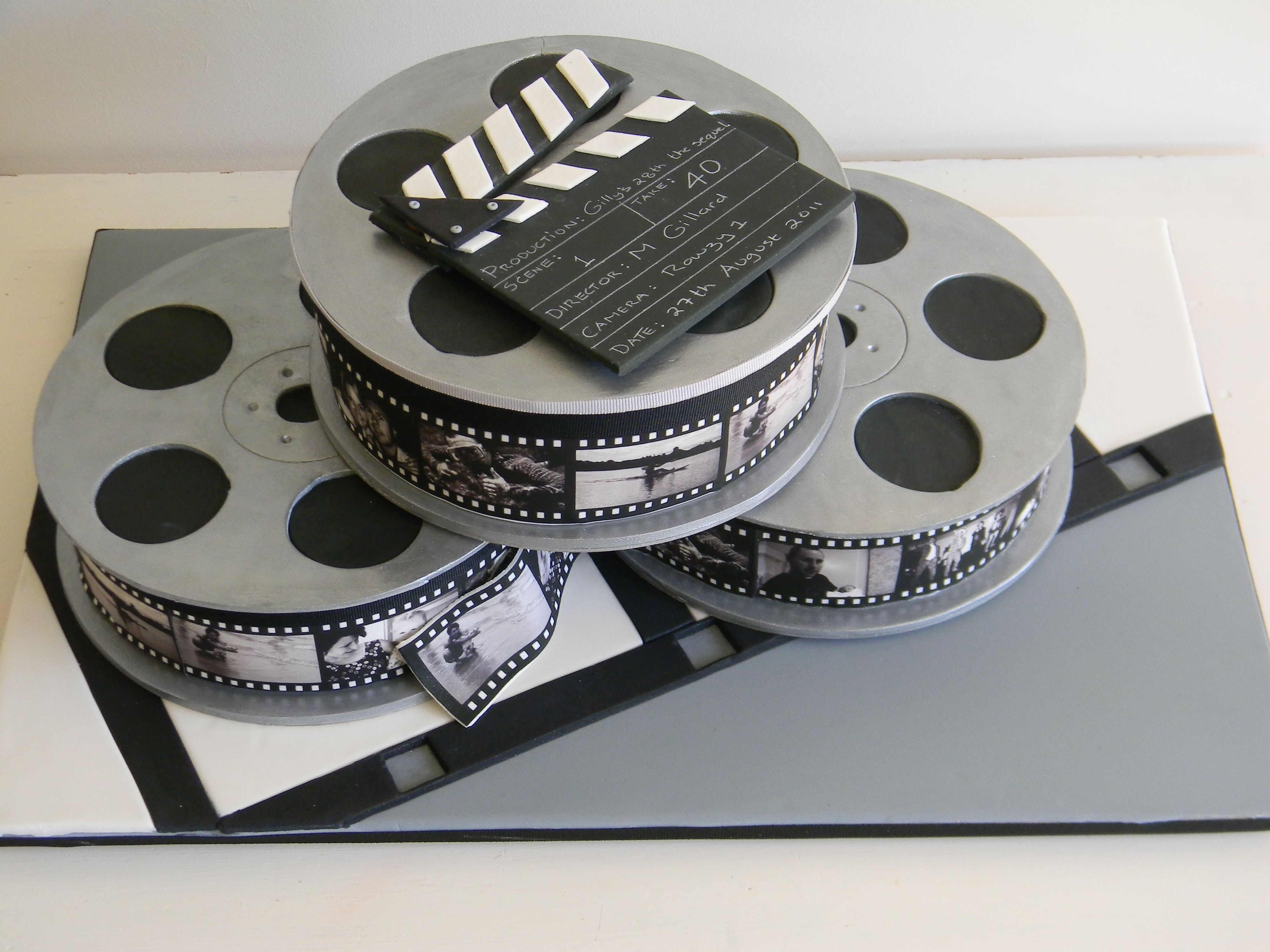 Movie Reel Cake For A Hollywood Theme Birthday Party Saw This - Movie themed birthday cake