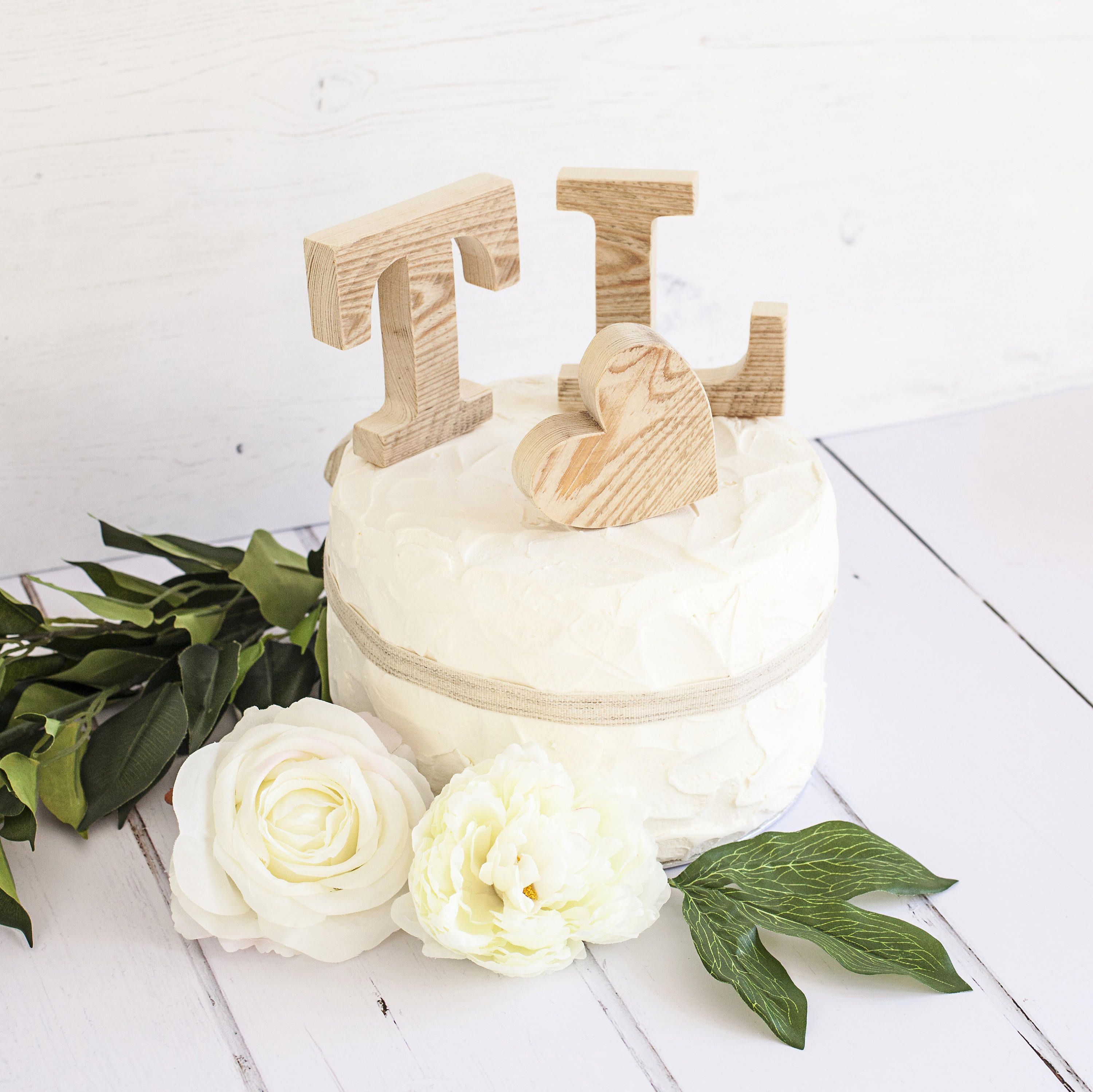 Rustic Wedding Cake Toppers - Personalised Cake Toppers - Small ...