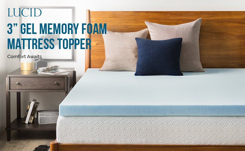 Amazon Com Lucid 3 Inch Gel Memory Foam Mattress Topper Queen