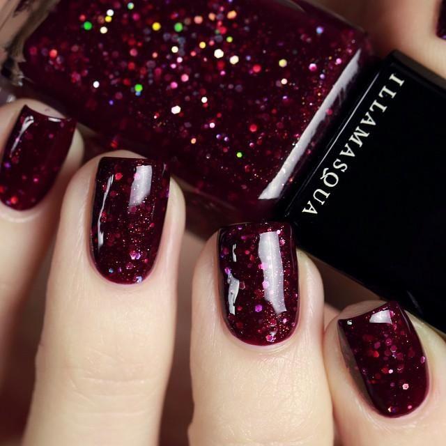 Dark red gliiter nail design from u_nona using Illamasqua Glitterati  polish. source - Dark Red Gliiter Nail Design From U_nona Using Illamasqua Glitterati