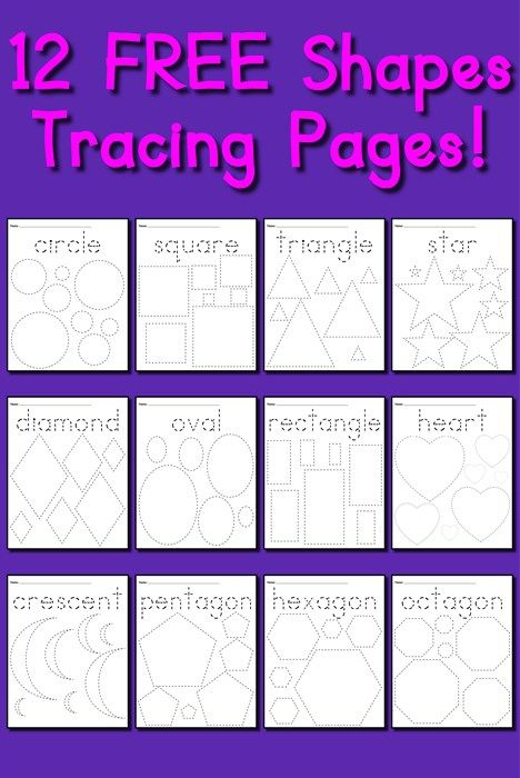 12 FREE Shapes Tracing Worksheets! | Tracing worksheets, Worksheets ...