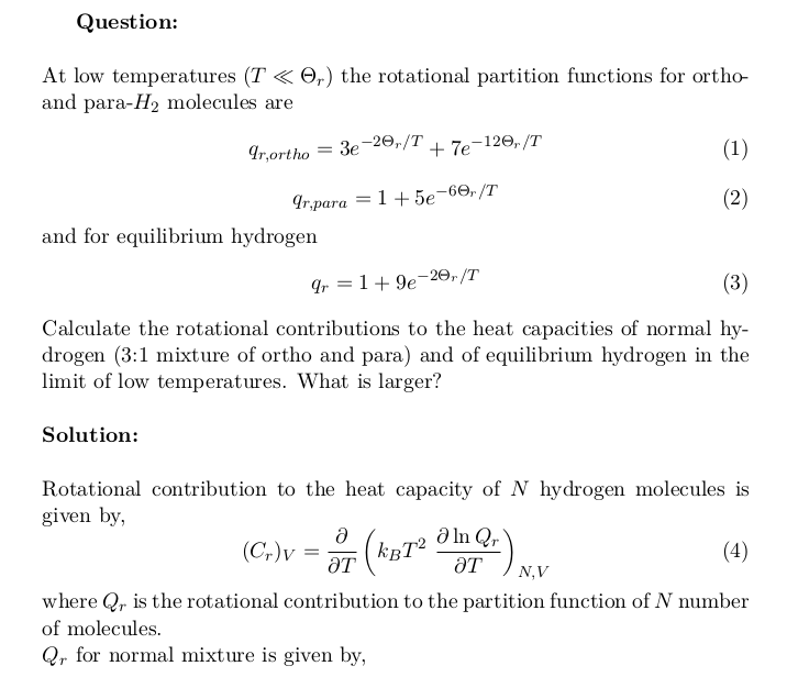 Rotational Contributions To The Heat Capacities Of Normal And Equilibrium Hydrogen At Low Temperatures Equilibrium Problem And Solution Student Problems