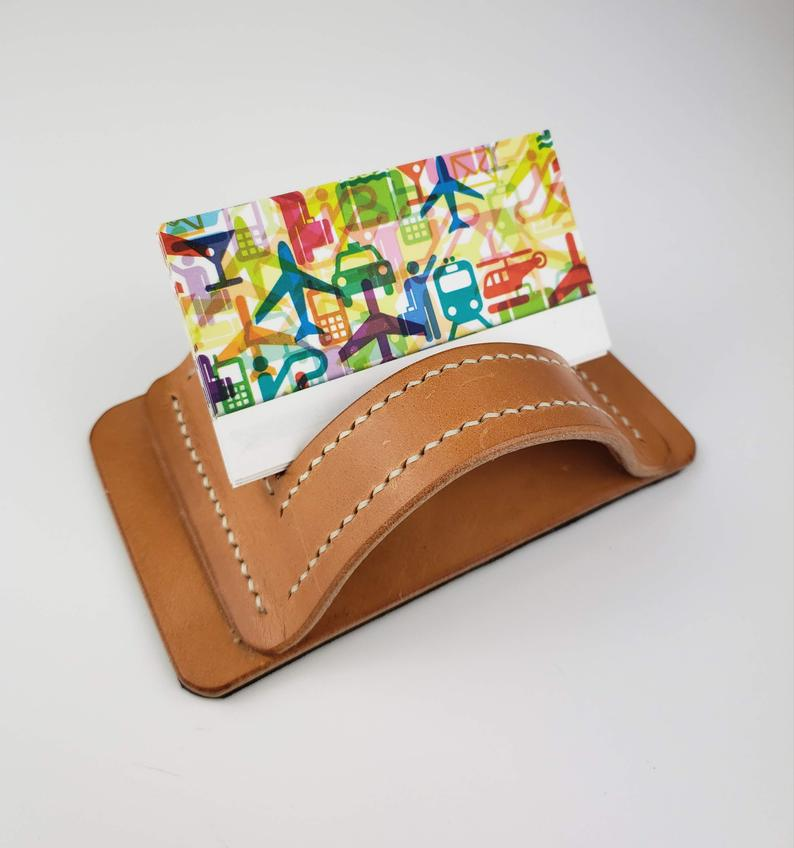 Leather Business Card Holder Desk Accessories Business Card Etsy Leather Business Cards Leather Business Card Holder Business Card Stand