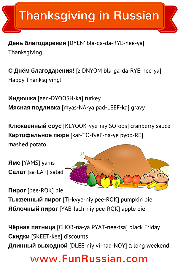 Let's Learn Thanksgiving Words in Russian! Learn more Russian words on FunRussian.com