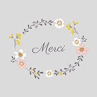 Carte de remerciement Couronne de fleurs photo gris clair