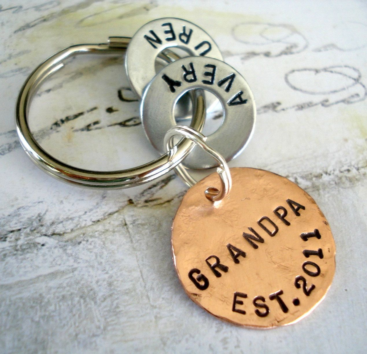Grandpa Gift Personalized Christmas Keychain with Names - Grandparent Birthday - Hand Stamped Key Chain GRANDPA EST. Washer and Copper Disc #grandpagifts