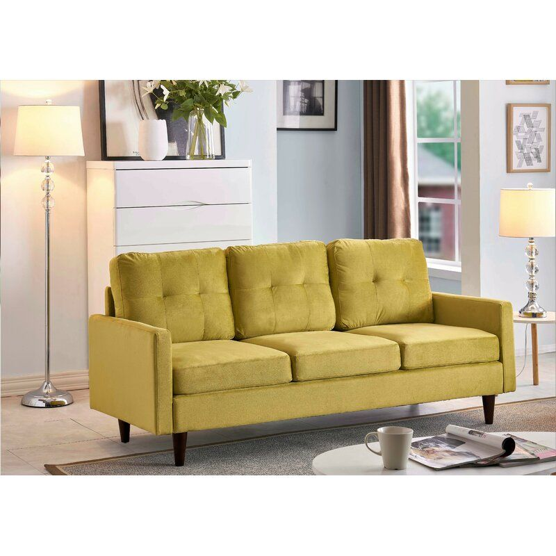 Brodde Velvet 71 Square Arms Sofa Furniture Sofa Chair And Ottoman