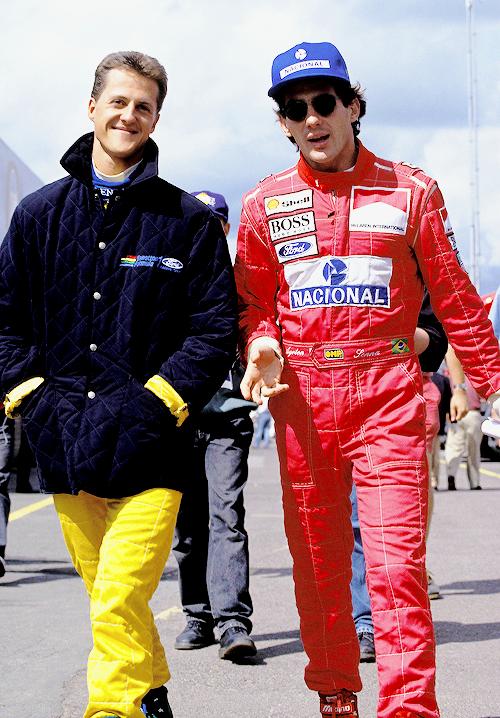 Ayrton with Michael Schumacher Michael schumacher, Ayrton