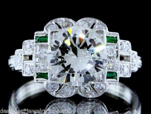 Art Deco 2 32C Ideal Flawless European Diamond Platinum Filigree Engagement Ring | eBay