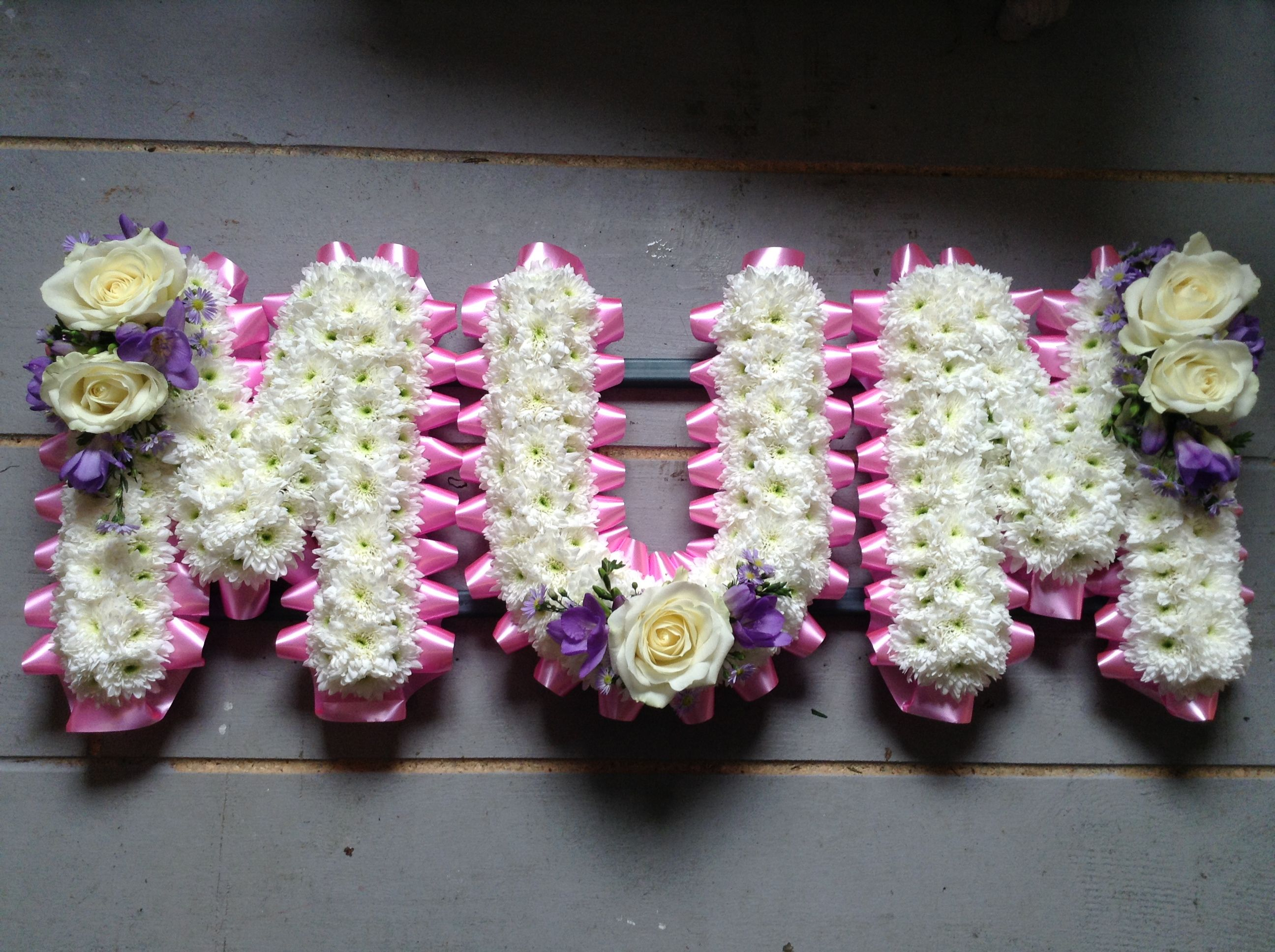 Funeral Flowers Mum Funeral Flower Letter Tribute Beautiful Pink