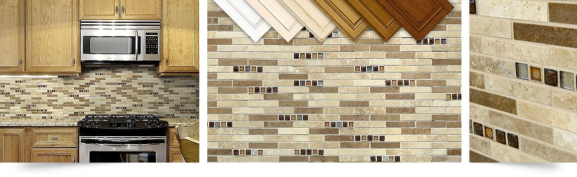 multi color travertine mixed kitchen backsplash tile with glass insert from