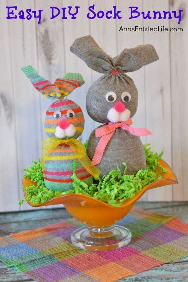 Pin by iva krajcova on velikonoce pinterest easter easter these no sew sock bunnies are the perfect craft for easter will delight work well as table decor make a cute gift negle Images