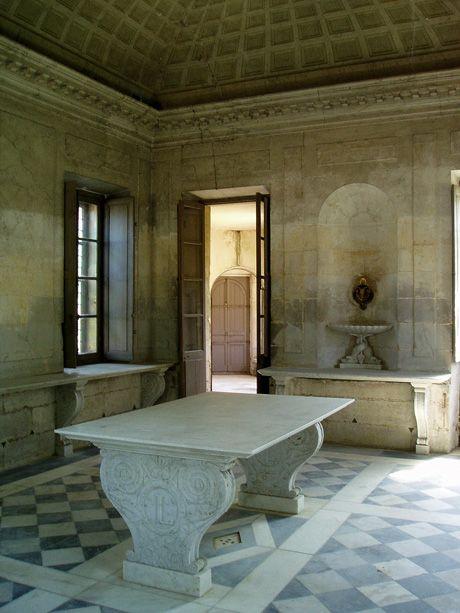 interior of Marie-Antoinette's pleasure dairy, Hameau de Versailles, designed by Richard Mique, ca. 1783–1787