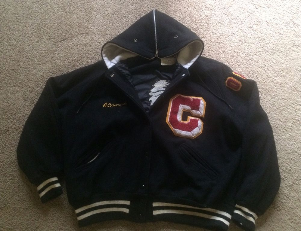 Vintage Varsity Hooded Collar Seminole Indian Jacket XL