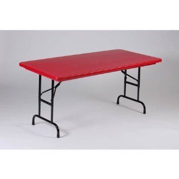 Adjustable Height Heavy Duty Folding Table 30x60 With Standard Legs In Red By Correll By Correll 208 Folding Table Adjustable Height Table Table Furniture