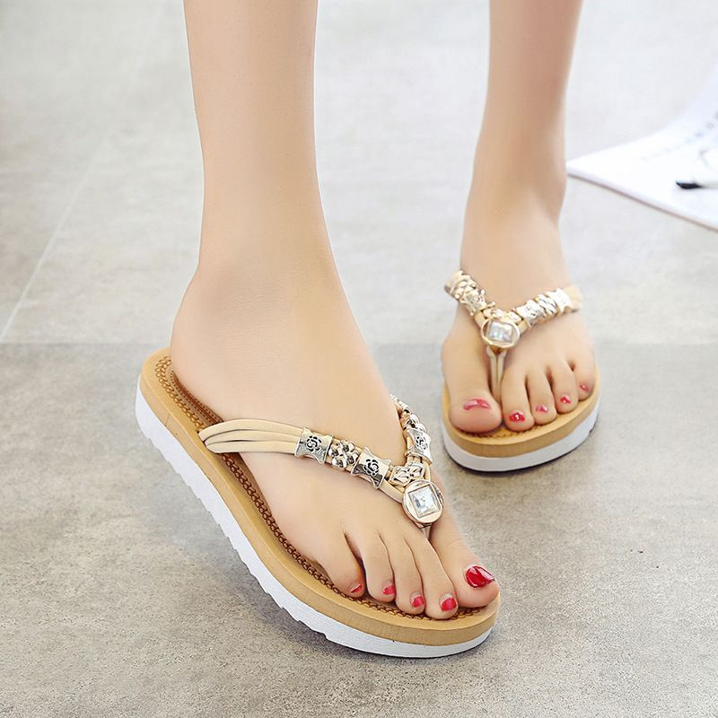 Summer Woman Shoes Outside Flat With Slipper String Bead Fashion Flip Flops Women Ladies Shoes