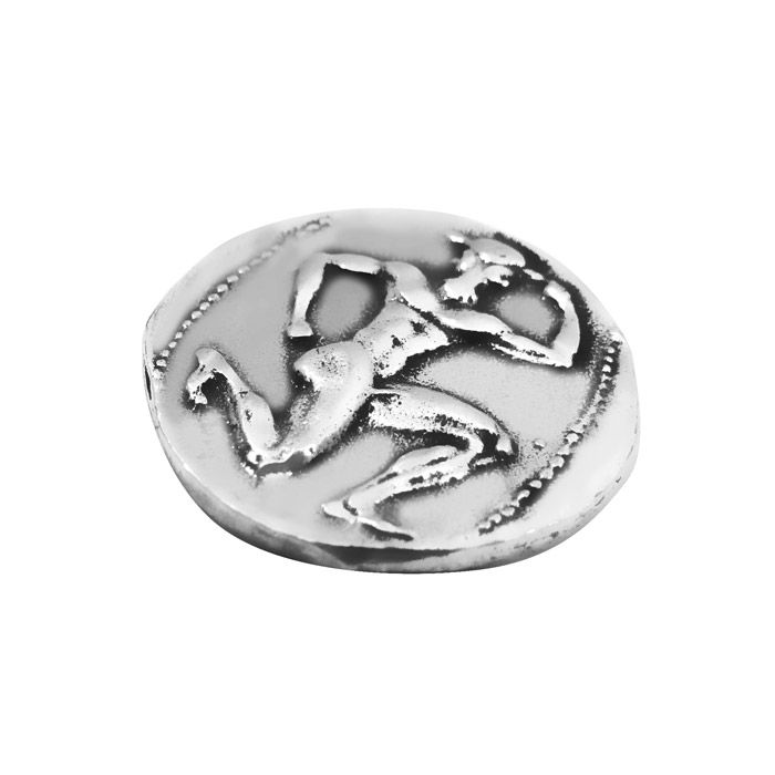 Handmade replica of the ancient silver stater of Knossos, which is dated around 425 B.C. It is one of the earliest coins minted at Knossos, a city on the northern coast of Crete. Its designs derive from the city's most famous myth, the Minotaur in the labyrinth. The Minotaur had the body of a man and the head of a bull.The coin is offered in an acrylic case for protection and better presentation and gift packaging. Diameter of the coin: 2,2 cm Dimensions of the case: 5 cm x 6 cm x 5 cm